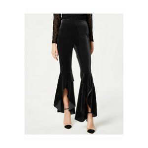 INC Womens Black Velvet Slit-Leg Pants Mid Rise